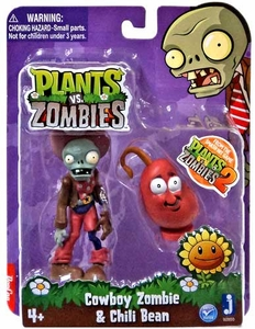 Plants vs Zombies 3 Inch Figure 2-Pack Cowboy Zombie with Chili Bean Pre-Order ships October