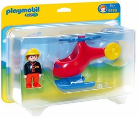 Playmobil 1.2.3 Set #6789 Fire Rescue Helicopter