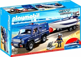 Playmobil City Action Set #5187 Police Truck with Speedboat