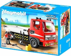 Playmobil City Action Set #5283 Flatbed Construction Truck New!