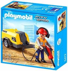 Playmobil City Action Set #5472 Construction Worker & Jack Hammer New!