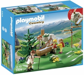 Playmobil Country Set #5424 Backpacker Family at Mountain Spring