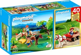 Playmobil Country Set #5457 40th Anniversary Pony Pasture Compact Set + Pony Wagon
