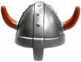 Playmobil LOOSE Axe Silver Viking / Norse Helmet with Tan Horns
