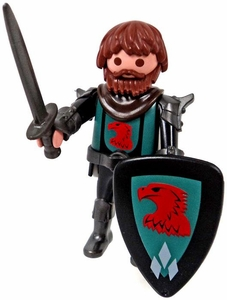 Playmobil LOOSE Mini Figure Armored Falcon Knight with Beard, Sword & Shield