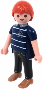 Playmobil LOOSE Mini Figure Male with Red Hair & Blue Striped Shirt, Black Pants