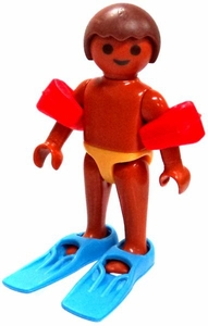 Playmobil LOOSE Mini Figure Tan Boy with Swimmies & Flippers