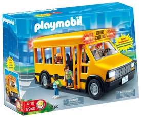 Playmobil School Set #5940 School Bus Damaged Package, Mint Contents!