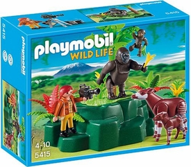 Playmobil Wild Life  Set #5415 Gorillas & Okampis with Film Maker