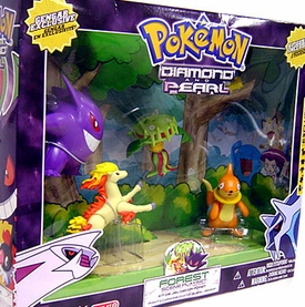 Pokemon Diamond & Pearl Exclusive Basic Figure 5-Pack Forest Scene Playset [Gengar, Ponyta, Carnivine, Chatot & Buizel]