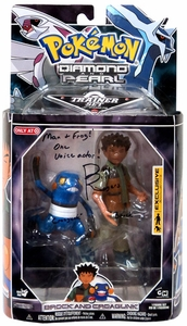 Pokemon Diamond & Pearl Exclusive Deluxe Action Figure Trainer Set Brock & Croagunk [AUTOGRAPHED BY BILL ROGERS]