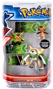 Pokemon TOMY Basic Figure Evolution 3-Pack Chespin, Quilladin & Chesnaught New!