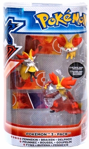 Pokemon TOMY Basic Figure Evolution 3-Pack Fennekin, Braixen & Delphox New!