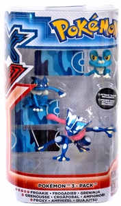 Pokemon TOMY Basic Figure Evolution 3-Pack Froakie, Frogadier & Greninja New!