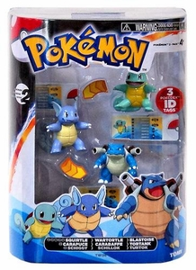 Pokemon TOMY Basic Figure Evolution 3-Pack Squirtle, Wartortle & Blastoise