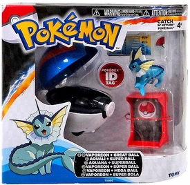 Pokemon TOMY Catch 'n' Return Poke Ball Vaporeon & Great Ball