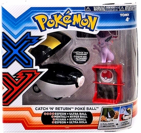 Pokemon XY TOMY Catch 'n' Return Poke Ball Espeon Figure & Ultra Ball