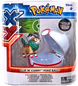 Pokemon XY TOMY Clip 'n Carry Poke Ball Gogoat Figure & Premier Ball