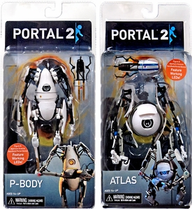 Portal 2 NECA 7 Inch Set of Both Action Figures Atlas & P-body [Light-Up Body & Portal Gun] New!