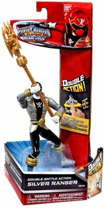 Power Rangers Super Megaforce Double Battle Action Figure Silver Ranger New!