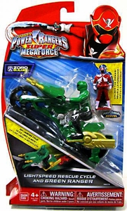 Power Rangers Super Megaforce Vehicle & Action Figure Lightspeed Rescue Cycle & Green Ranger New!