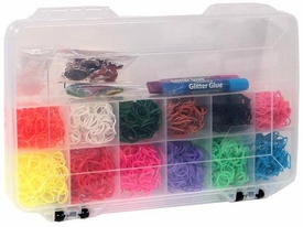 Rainbow Colorful Loom Bracelet Band Kit 3600 Rubber Bands & Storage Case [Plus Clips, Charms & Glitter Markers]