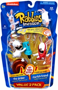Raving Rabbids Invasion Series 2 Action Figure with Sound 2-Pack The Driller & Starfish Friend