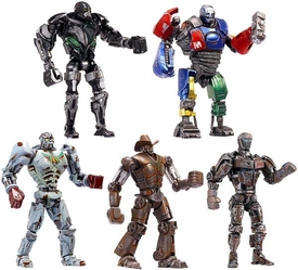 Real Steel Movie Series 2 BASIC Set of 5 Action Figures [Metro, Battle Damaged Zeus, Atom V2, Six Shooter & Ambush]