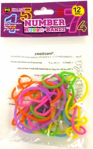 Rubba Bandz Shaped Rubber Bands Bracelets 12-Pack Numbers