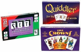 Set Enterprises Family Game 4-Pack Five Crowns, Set & Quiddler
