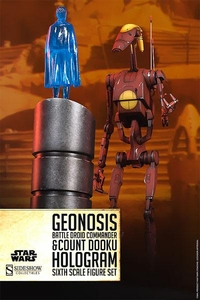 Sideshow Collectibles Militaries of Star Wars 1/6 Scale Action Figure Set Geonosis Commander Battle Droid & Count Dooku Hologram Pre-Order ships October