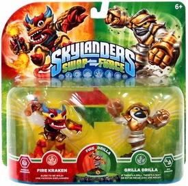 Skylanders SWAP FORCE Exclusive Swappable Figure 2-Pack Fire Kraken & Grilla Drilla
