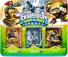 Skylanders SWAP FORCE Figure 3-Pack Heavy Duty Sprocket, Twin Blade Chop Chop & Scorp BLOWOUT SALE!