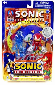 Sonic the Hedgehog Exclusive 3.5 Inch Action Figure with 200th Issue Comic Book 2-Pack  Translucent Sonic & Knuckles