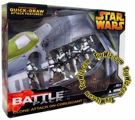 Star Wars EIII Revenge of the Sith Exclusive Deluxe Battlepack Action Figure Set Clone Attack on Coruscant