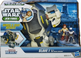 Star Wars Playskool Heroes Jedi Force Vehicle & Figure 3-Pack Jango Fett's Slave 1 with Obi-Wan Kenobi