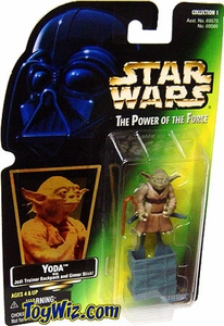 Star Wars POTF2 Power of the Force Hologram Card Yoda w/ Jedi Trainer Backpack and Gimer Stick