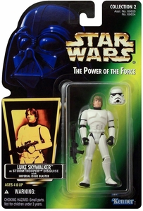 Star Wars Power of the Force Hologram Card Action Figure Stormtrooper Disguise Luke Skywalker [Imperial Issue Blaster]
