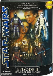 Star Wars Saga Blu-Ray Commemorative Action Figure 4-Pack Episode II Attack Of The Clones[Clone Trooper, Anakin Skywalker, Count Dooku & Jango Fett]