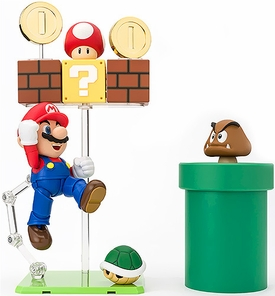 Super Mario Brothers S.H. Figuarts Action Figure Complete Set of Mario & Dioramas New!