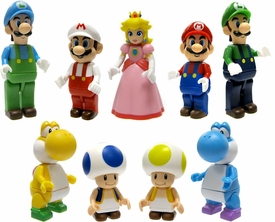 Super Mario Wii K'NEX LOOSE Set of all 9 Mini Figures [Mario, Fire Mario, Luigi, Ice Luigi, Yellow Yoshi, Blue Yoshi, Yellow Toad, Blue Toad & Princess Peach]