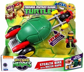 Teenage Mutant Ninja Turtles TMNT Half Shell Heroes Deluxe Vehicle & Action Figure Stealth Cycle with Raphael