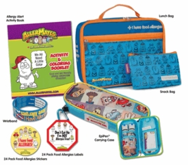 The Food Allergy Survival Kit Blue Large: Includes Blue Lunch Bag, Blue Small Snack Bag, Squares Pattern Epi-Pen Case, I Have Allergies Stickers, Don't Eat Me Food Label, I Have Allergies Writable Wristband & Activity & Coloring Booklet