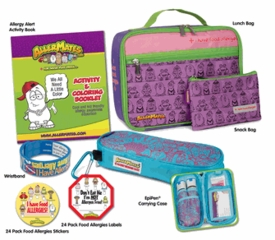 The Food Allergy Survival Kit Pink/Purple Large Includes Pink Lunch Bag, Pink Small Snack Bag, Blue/Pink Pattern Epi-Pen Case, I Have Allergies Stickers, Don't Eat Me Food Label, I Have Allergies Writable Wristband & Activity & Coloring Booklet BLOWOUT SALE!