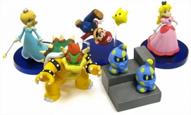Tomy Gacha Set of 5 Super Mario Galaxy Mini 2 Inch PVC Figures [Mario, Peach, Bowser, Rosalina & Takopos]