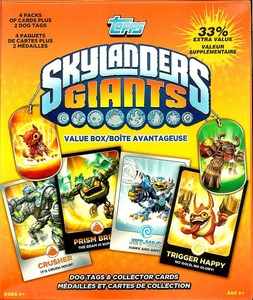 Topps Skylanders Giants Trading Card Value BOX [4 Packs Plus 2 Dog Tags]