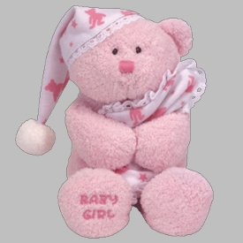Ty Beanie Baby Baby Girl with Nightcap & Pillow