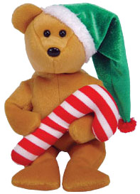 Ty Beanie Baby Tasty the Christmas Bear (Candy Cane)