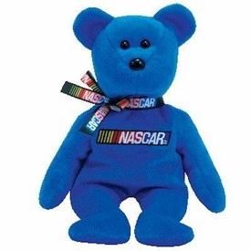 Ty NASCAR Beanie Baby Bear BLUE Version