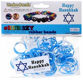 Undee Bandz Rubbzy 100 Hanukkah White & Blue Glitter Tie-Dye Rubber Bands with Clips BLOWOUT SALE!